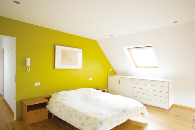 Schlafzimmer Wandfarbe Innenraum Gelb Grün